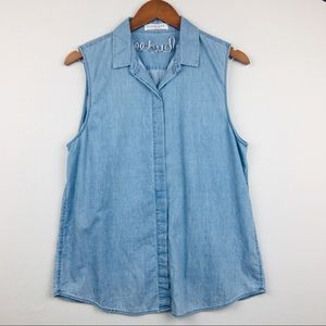 EVERLANE Sleeveless Chambray Button-up Top